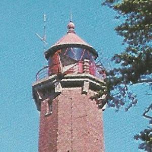 Szczyt wieży helskiej latarni morskiej w latach 70. XX wieku